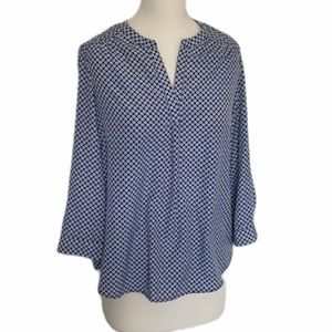 4/$25 Women's Dalia Blue & White Casual Shirt
